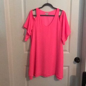 GIANNI BINI Hot Pink Cold Shoulder Dress